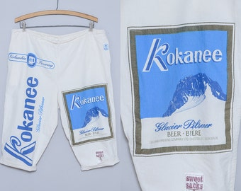 90s KOKANEE Beer Swim Board Shorts Sweet Sacks Linenbacker Summer Shorts