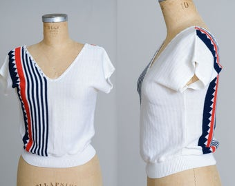 80s Nautical Stripe Sweater Blouse Red / White & Blue Geometric Top