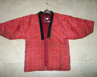 Vintage Japanese Silk / Cotton  Wedding Kimono..Red / Black Geometric Pattern..1940Era..Good Condition