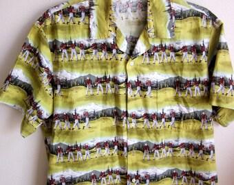 Vintage Men's Cotton Shirt  golfers kitsch golf course hawaiian  hippy L XL