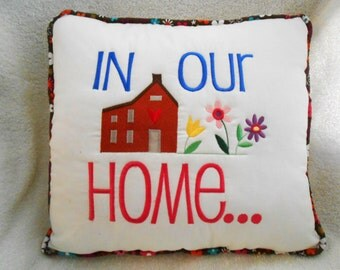 Memory Pillow w/ Saying, Custom Embroidered Family Pillow, Two-Sided Fashion Pillow, Personalized Throw Pillow, Sentiment Pillow, Bolster