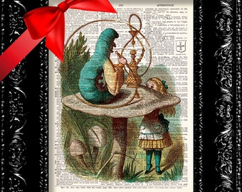 Alice In Wonderland Blue Caterpillar Print, Upcycled Dictionary Art