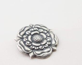 1900 Arts & Crafts Era Norway Sterling Silver Rose Brooch - Scandinavian, flower