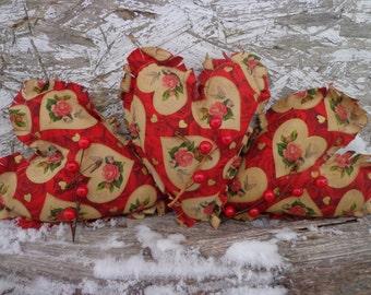 Primitive VALENTINE'S DAY Raggedy Heart Bowl Filler Shelf Sitters