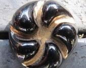 Bimini type button, 1940's 1950's Vintage Black Glass Button