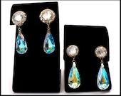 Long AB Crystal Teardrop & Rhinestone Earrings, Aurora Borealis, Lucite Rivoli, Pierced Shoulder Dusters, Bridal Earrings, Gift For Her