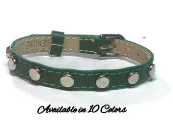 Studded Genuine Leather Bracelet - Studded Buckle Leather Bracelet Wristband With Silver Round Studs - 8mm Green Leather Wristband Strap