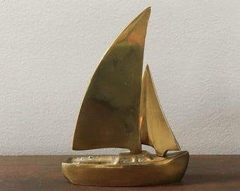 Vintage Brass Sailboat / Mini Sailboat