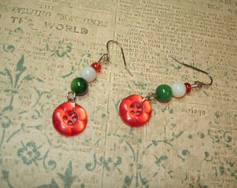 DANGLE BUTTON EARRINGS - Red Shimmery Flower Buttons - Green White and red glass beads - Stainless Steel Findings