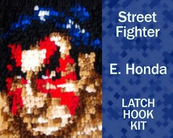 E. Honda - Street Fighter - Latch Hook Kit - DIY Latch Hook Rug 6*8.5 Inches