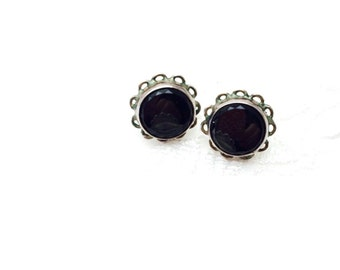 Vintage Black Stones Earrings, Round, Floral Design, Stamped .950, HALF OFF Sale, Item no. S309 B