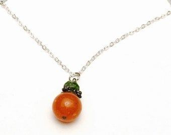 Orange Agate silver Pendant/Necklace, Round Vintage Delicate, Pre Holiday SALE,  Item No. S179