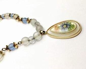 Glass Necklace, Painted Flower Pendant, Gold Tone, Victorian Design Necklace, Item No. B564