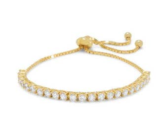 Adjustable 14 Karat Gold Plated over Sterling Silver CZ Cubic Zirconia Friendship Bolo Bracelet