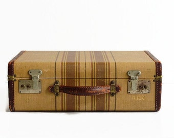 vintage small brown gold striped tweed suitcase 1940s luggage travel
