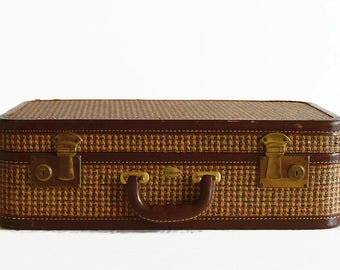 Vintage Suitcase Tweed Luggage with Leather Trim Small Size
