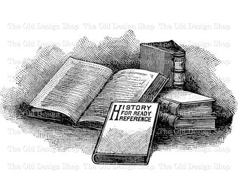 Vintage Book Clip Art Stack of Books Illustration Digital Download PNG JPG Image