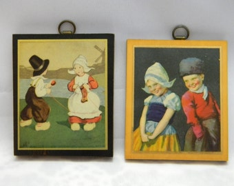 Vintage Wood Prints set Dutch Kids Hanging Plaques Pictures