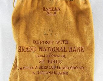 Vintage Drawstring Canvas Bank Bag Grand National Bank St Louis