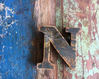 Beach Decor Wooden Letter N Vintage Style Nautical by SEASTYLE