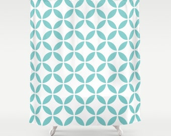 36 Colours Mid Century Modern Circles Pattern Shower Curtain Abstract Style Aqua