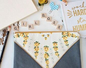 Gray Canvas Zipper Pouch Wristlet Clutch Planner Pouch Diaper Clutch Denim Purse Diaper Bag Baby Shower Gift Makeup bag Pencil Case