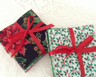 Pre-cut Fabric - Christmas prints - 70 squares - Patchwork - 3 inches - Christmas sewing projects - gift idea - DIY craft supplies