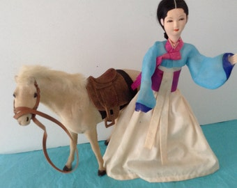 Asian Doll - Flocked horse - photo prop - Doll Collector  - Collectible horse  - pretend play - make be live props 1980s