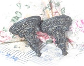 NEW FINISH Shabby French Country Dirty Black Velvet Wall Shelves Florentine Baroque Unique Romantic Cottage Chic Set Of 2