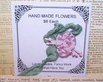 Handmade Ribbonwork Rose - Lavender Silk with Green Rayon Ribbon & Sugar Pips