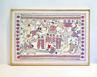 Vintage Crewelwork Wall Hanging