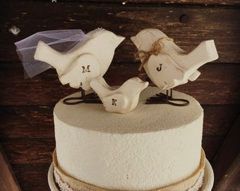 Love Birds Family Cake Topper Wooden Wedding Rustic Bird