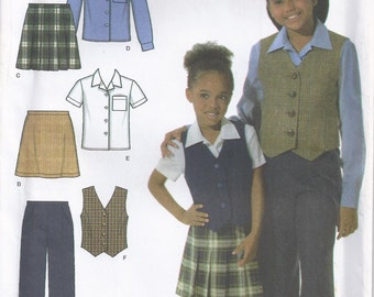 Pants Skirt Shirt And Vest Girl's Size 3 4 5 6 Children's Sewing Pattern 2004 Simplicity 4978