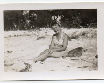 Amateur Pin Up Photo Woman In Swimsuit Beachwear Fashion Photograph Vintage Bathing Beauty Snapshot On The Beach