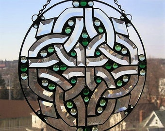 Celtic Knot|Celtic Knot Stained Glass|Celtic Knot Suncatcher|Celtic Knot Panel|Irish|Irish Stained Glass Panel|Handcrafted|Made in USA