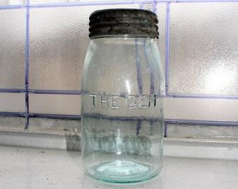 Antique Blue Mason Jar 1800s The Gem Quart Canning Jar