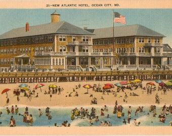 Linen Postcard, Ocean City, Maryland, New Atlantic Hotel, 1945