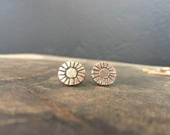 Round Gold Stud Earrings - Boho - Tribal - Handmade