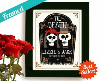 Halloween Wedding Gift Personalized Art Day of the Dead Tombstone Newlywed Gift Tattoo Couple Framed Art Print Goth Couple Anniversary Gift