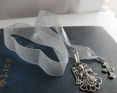 ANGEL and Cross Book Mark Ribbon periwinkle