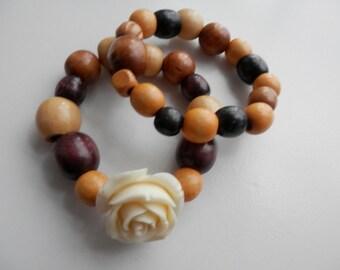Wooden ROSE Stretch DUO Bracelet