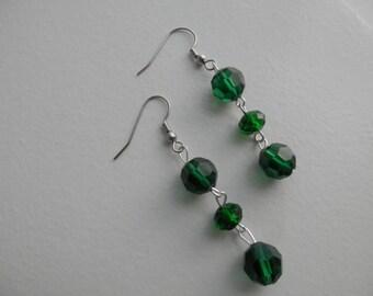GREEN CRYSTAL DANGLE Earrings