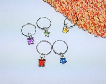 Colorful Stitch Markers for Knitting Set of 5 Jewel Markers