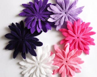 Felt Flower Daisies 9, felt Shapes, 18 pieces, Felt flower, Die Cut Shapes, Applique, Party Supply, DIY Wedding,