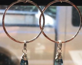 Topaz Sterling hoops