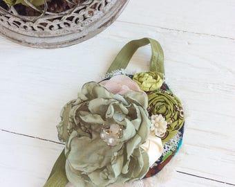 Olive sage green ivory headband baby headband girl headband baby headband toddler headband matilda jane m2m headband newborn headband shabby