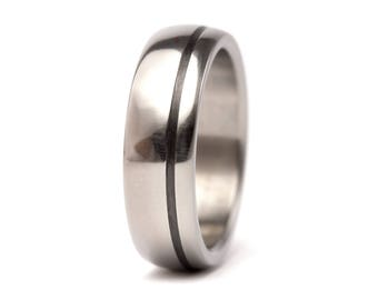 Men's titanium and carbon fiber ring. Unique and modern round wedding band. Water resistant, very durable and hypoallergenic. (00334_7N)