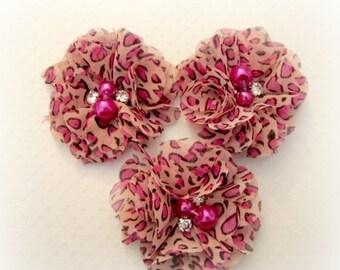 Sale Pink Leopard Print Chiffon Flowers. 3 Pieces