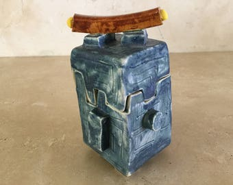 Half Price Sale. Small Handcrafted Slab Built Ceramic Box / Stoneware Treasure Box / Asian Box