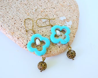 Turquoise Quatrefoil Earrings with Antiqued Bronze Filigree Beads and Freshwater Pearls, Dangle Earrings, Clip On Available, Gift Boxed